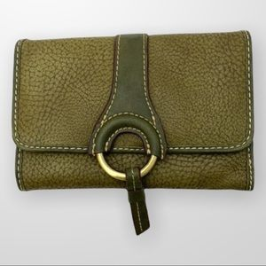 TOMMY HILFIGER Faux Leather Wallet Green NWOT